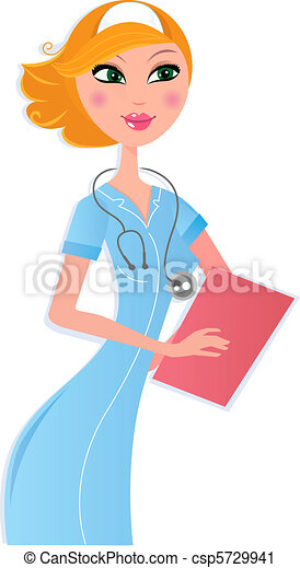 Sexy nurse with document on white - csp5729941