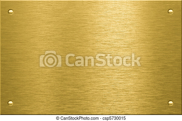 Brass or bronze metal plate with four rivets - csp5730015