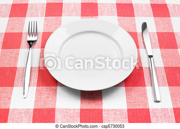 Knife, white plate and fork on red checked tablecloth - csp5730053