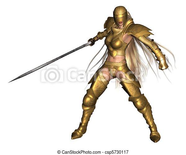 Golden Female Fantasy Warrior - 3 - csp5730117