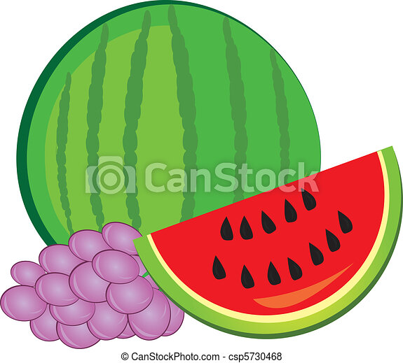Watermelon and grapes - csp5730468