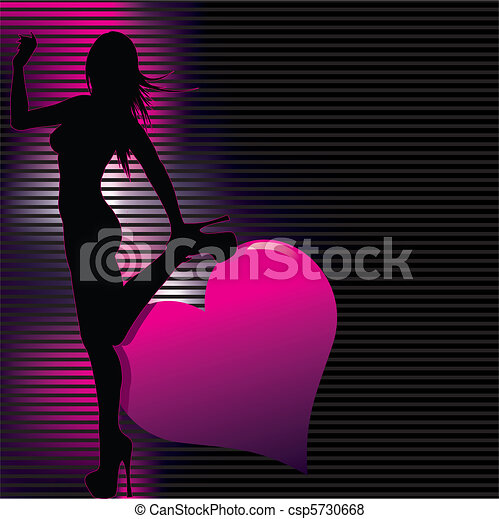 sexy silhouette with abstract back - csp5730668