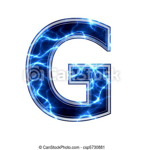 Electric 3d letter on white  G Logo 3d