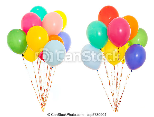 colourful balloons bunch filled with helium isolated on white - csp5730904