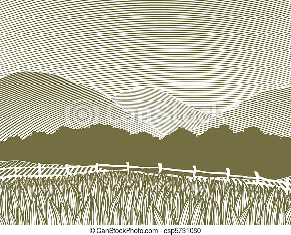 Woodcut Country Scene - csp5731080