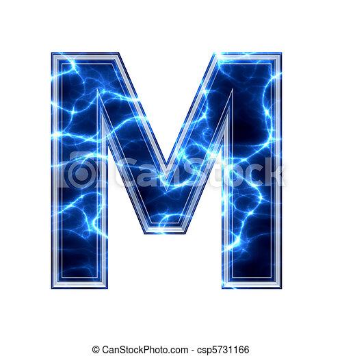 M Alphabet In 3d Illustration - Électrique, 3D, lettre, blanc, fond, -, m - Banque d ...