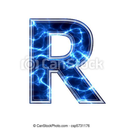 Electric 3d letter on white  R Logo 3d