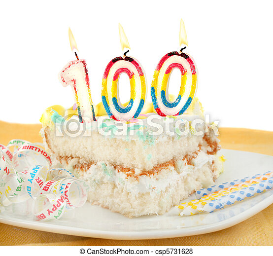 100 year birthday or anniversary cake - csp5731628