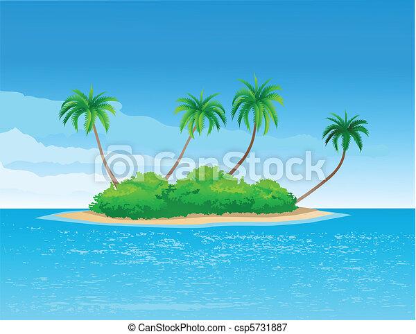 vectors illustration of tropical island vector