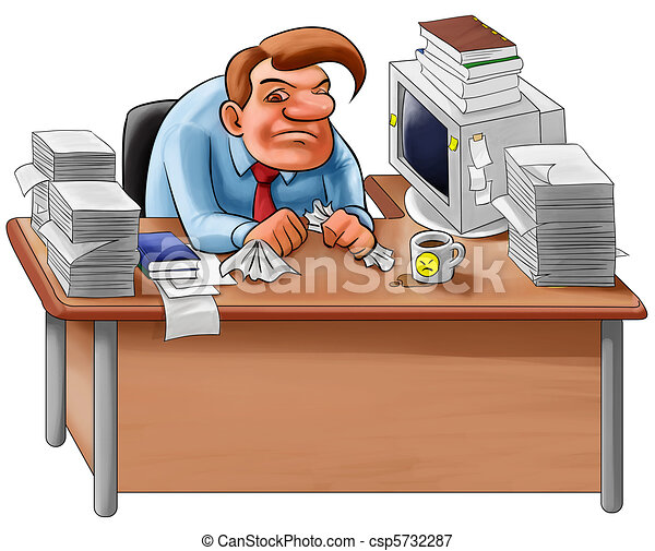 Stock Illustrations of desk in a mess - worker overworked sit in a desk with too... csp5732287 ...