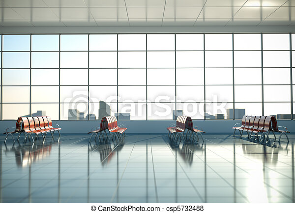 Stock Illustration of Airport waiting area. 3D render ...