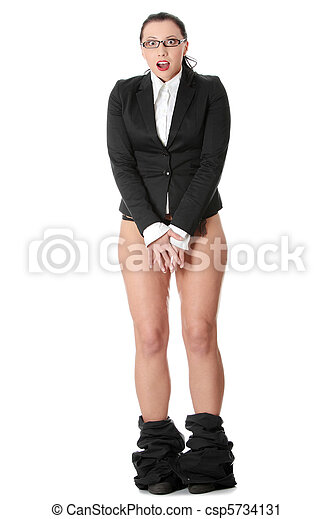 Young businesswoman caught with pants down.  - csp5734131