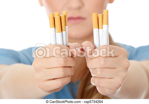 Young caucasian woman quiting smoking - csp5734264