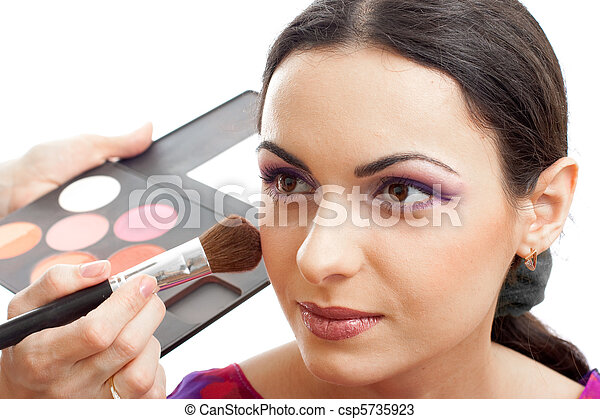 Makeup applying blusher - csp5735923