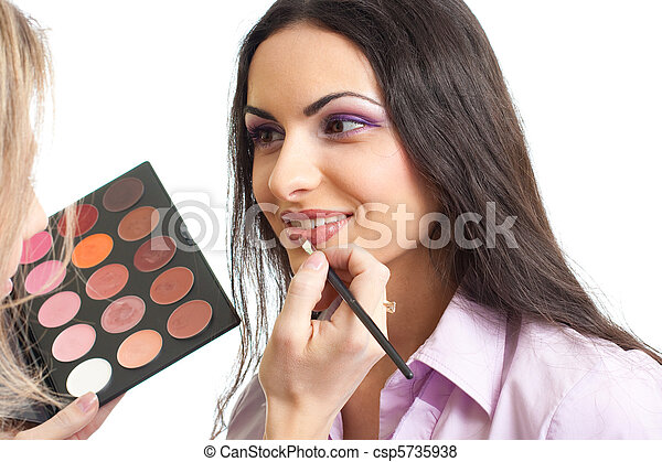 Makeup lips applying - csp5735938