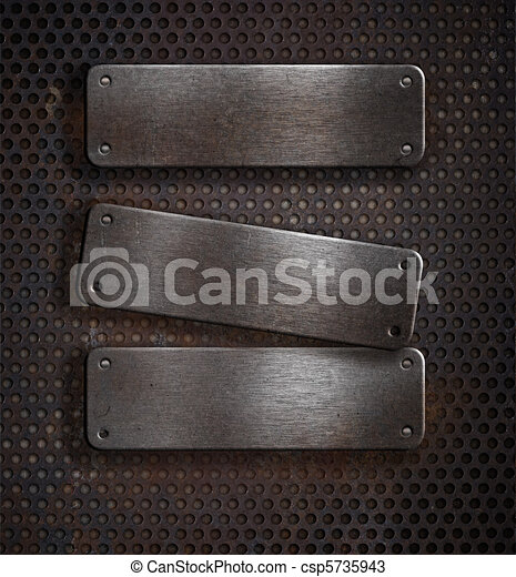 three grunge rusty metal plates over grid background - csp5735943