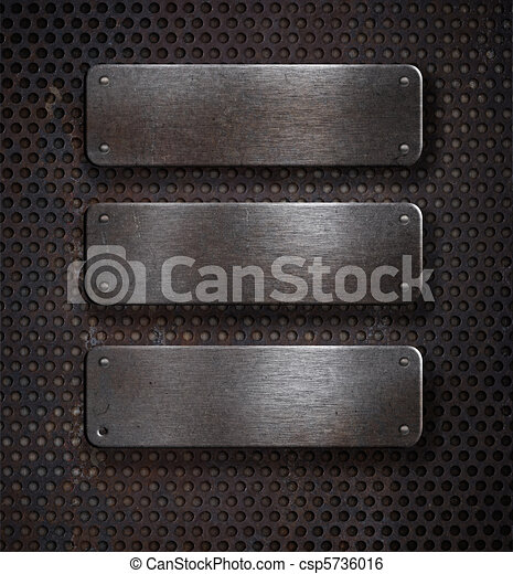 three grunge rusty metal plates over grid background - csp5736016