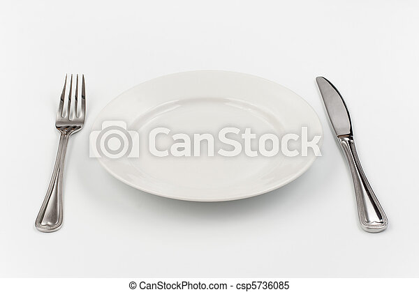 Place setting for one person. Knife,  white plate and fork. - csp5736085