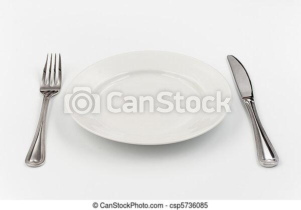 盤子, 叉子, 人, 一, 确定, 地方, 白色, 刀 - csp5736085
