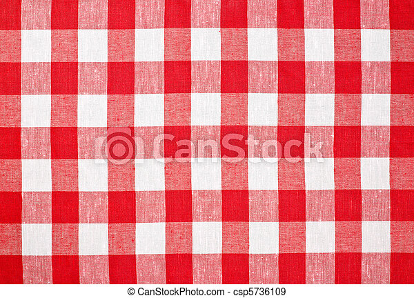 red checked fabric tablecloth - csp5736109