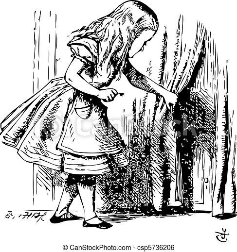 Alice is looking behind a curtain to reveal a hidden door - csp5736206