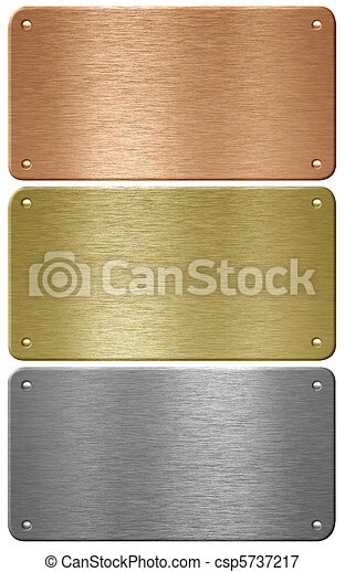 Aluminum, copper and brass metal plates with rivets isolated with - csp5737217