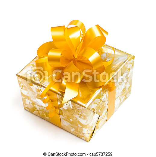 Nice gift packed in golden paper with yellow bow on white background - csp5737259