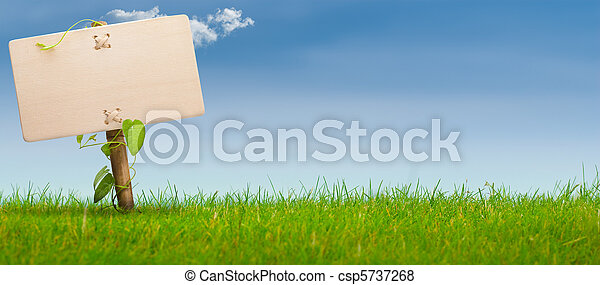 green sign, horizontal banner, blue sky - csp5737268