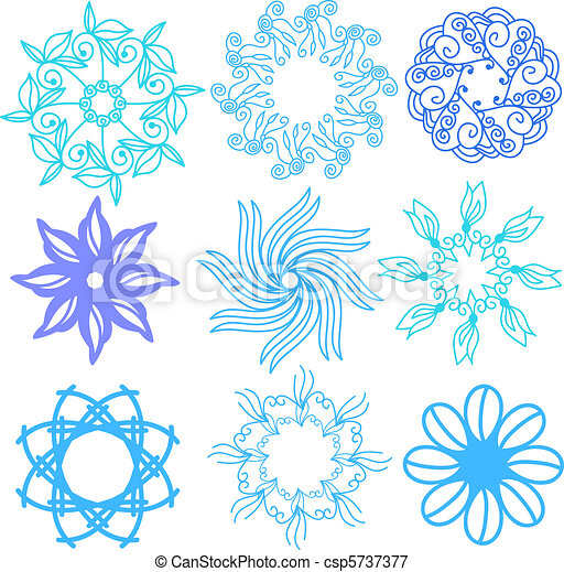 Turquoise - green vector ornaments - csp5737377