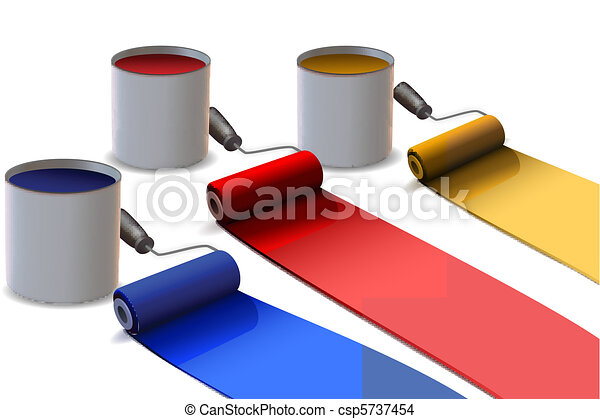colorful paint rollers - csp5737454