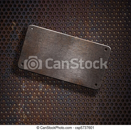 grunge rusty metal plate over grid background - csp5737601