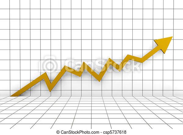 3d graph wall arrow gold yellow high - csp5737618