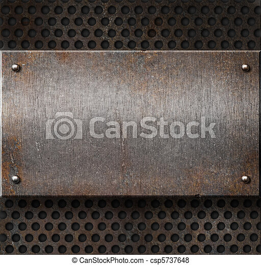 grunge rusty metal plate over grid background - csp5737648