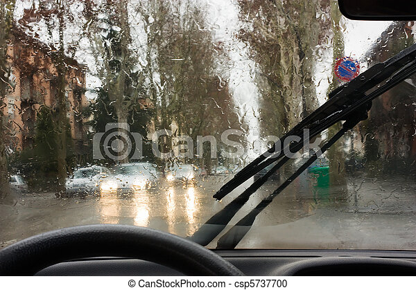 stock photography of rain on the road looking road through the car windshield csp5737700. Black Bedroom Furniture Sets. Home Design Ideas