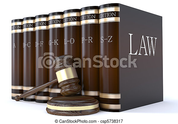 Judges gavel and law books - csp5738317