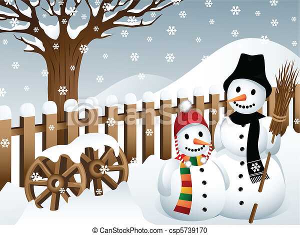 Snowmen in the Country - csp5739170