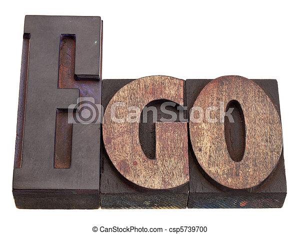 ego - word in letterpress type - csp5739700