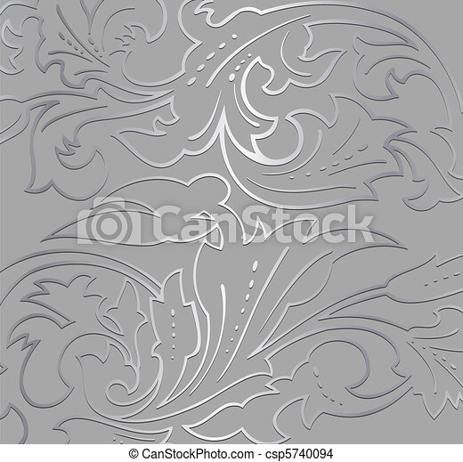 Wallpaper silver floral Background. Vector - csp5740094