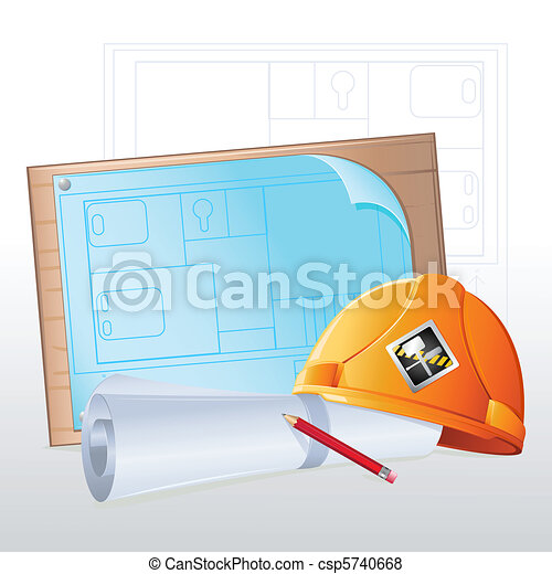 Hard Hat with Blue Print - csp5740668