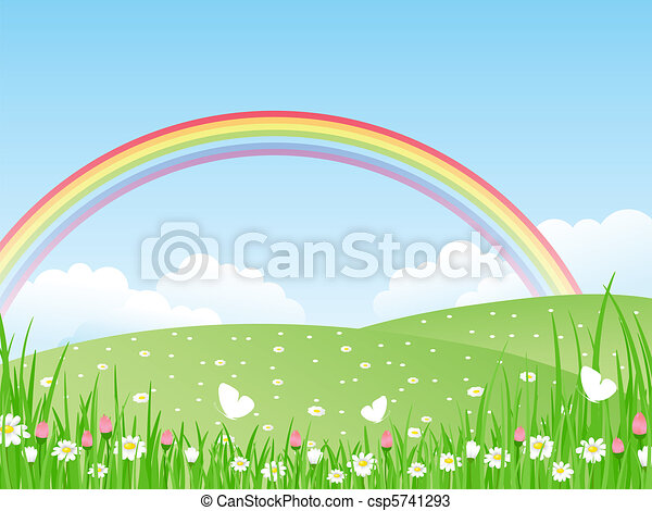 Landscape with a Rainbow. Vector il - csp5741293