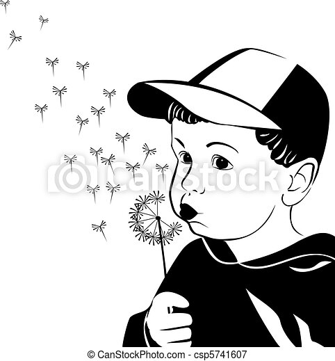 Vector little boy blowing on a dandelion  - csp5741607