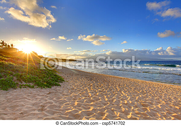 Tropical beach sunset at Oneloa Beach, Maui, Hawaii - csp5741702