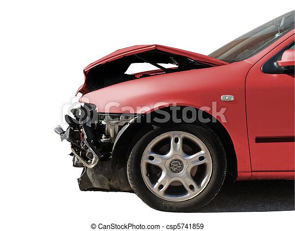 damaged car after an accident isolated on white        - csp5741859