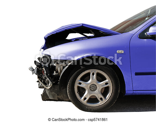damaged car after an accident isolated on white        - csp5741861