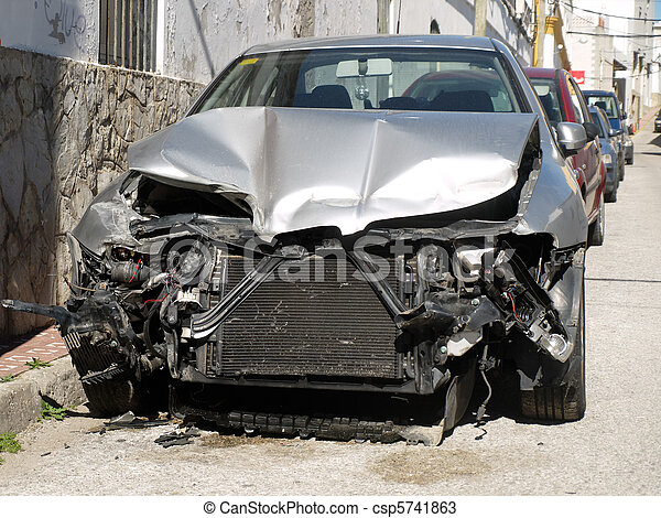 damaged car after an accident - csp5741863