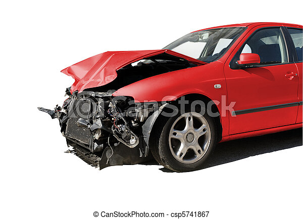 isolated Damaged car after an accident - csp5741867