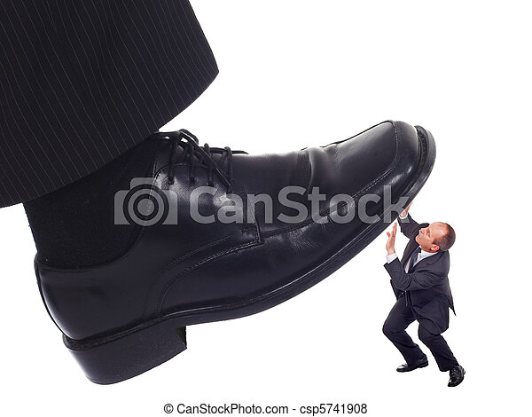 Shoe crushing a businessman - csp5741908