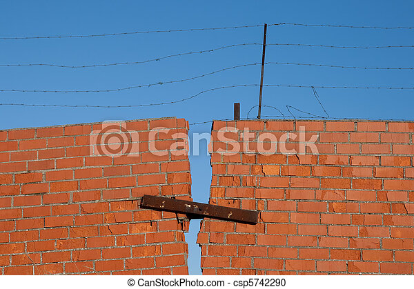 Red Brick broken Wall - csp5742290