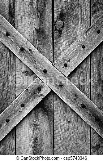 Rustic Barn Door (BW) - csp5743346