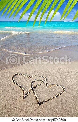 hearts in love written in Caribbean beach sand - csp5743809